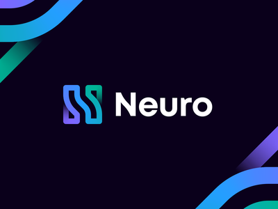 Neuro Logo Concept android logo dna unused letter n artificial intelligence ai robot robotics wire connection gradient linear pattern brain neural network neuron lettering identity branding logo