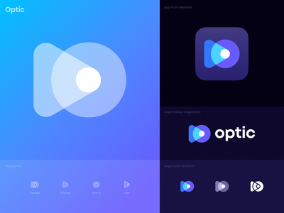 Optic Premade Logo Design tech virtual reality vr ar augmented reality template premade for sale rays light lense eye camera logo icon video logo play logo identity branding unused logo
