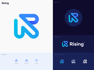 Rising Unused Logo forward up for sale premade logo linear path loop gradient leter r typography icon app icon arrow identity branding unused logo