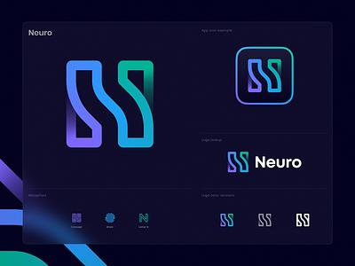 Neuro Unused Logo app icon glassmorphism frost glass gradient lines waves psychology mind artificial intelligence ar vr ai tech neuron brain identity branding logo