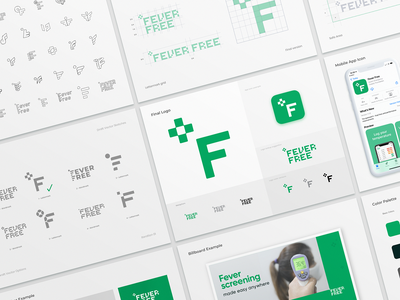 Fever Free Branding Guidelines and Process coronavirus covid test screening fever thermometer temperature degree medical cross lettermark typography lettering font type logotype identity branding logo