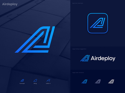 Airdeploy Approved Logo software crypto blockchain spiral galaxy letter a junction hub takeoff wing aircraft air devops feature platform code deploy logo identity branding