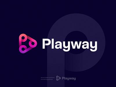 Playway Logo Concept button logo motion logo media logo app icon unused for sale gradient typography vr ar connection social gaming logo video logo letter p play logo identity branding logo