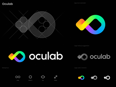 Oculab Logo Concept identity branding gradient rainbow spectrum color lab laboratory ar vr oculus ocular pixels eye letter o loop for sale premade unused logo
