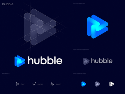 Hubble Logo Concept portal hub gaming check mark nebula galaxy space hubble play isometric identity branding logo