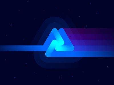 The Neon Side of the Moon crypto art gradient hub light rays spectrum prism galaxy token blockchain nft crypto identity branidng neon space pink floyd art illustration logo