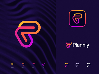Plannly Final Logo gradient waves calendar plan letter p link connection arrow heart love pride lgbt gay scheduling dating icon app identity branding logo