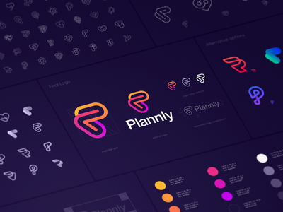 Plannly Logo Design Process logo branding identity app icon dating scheduling gay lgbt pride love heart arrow connection link letter p planning calendar waves gradient