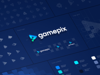 Gamepix Logo Design Process e-commerce fintech blockchain guidelines brandbook mark logo sign typography gradient gamer video game game gaming play icon transition pixel icon identity branding logo