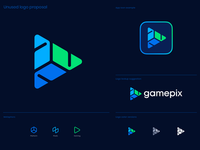 Gamepix Unused Logo Proposal circuit connections blockchain e-commerce gaming game isometry cube pixels play button app icon for sale unused logo