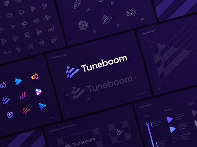 Tuneboom Logo Design Process artist carrier stairs steps chart optical illusion distribution platform portal video logo gradient stripes media music app icon play button play logo identity branding logo
