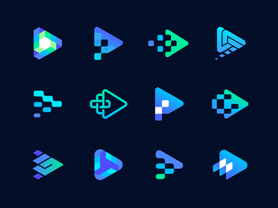 Play Buttons and Pixels Logo Exploration for sale unused video logo gradient fintech gamer crypto blockchain tech transition cube isometry bolt button play pixels gaming identity branding logo