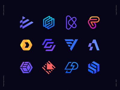 Lepisov Branding Team Logofolio 2020-2021 hexagon gradient rays wings lettering spark bolt app icon app logo saas logo deploy coding play arrow startup corporate identity branding mark logo