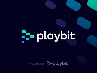 Play + Pixels Unused Logo Concept identity branding transition merger arrow app icon play pixels for sale unused logo