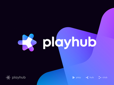 Playhub Logo Concept ar video logo server player connection community tech gamer gaming play hub mark icon gradient identity branding for sale premade unused logo