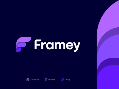 Framey Approved Logo booking schedule fly share photo typography social arrow letter f pin marker travel map location wing mark icon identity branding logo