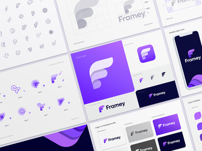 Framey Logo Design Process social app typography branding identity app icon logo wing location map marker pin letter f arrow social logoguide brandbook photo share fly schedule booking