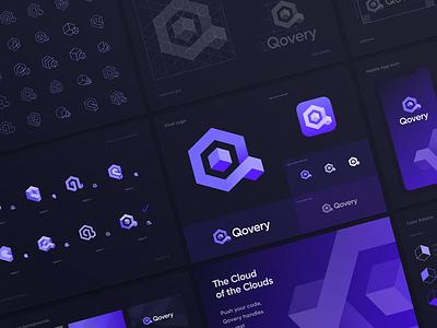 Qovery Logo Design Process background coding developer rebranding redesign brandbook logo guide blockchain tech software app fullstack deploy saas isometry lettering gradient identity branding logo