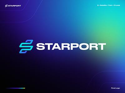 Starport Final Logo Design code developer coding app coin ethereum bitcoin crypto space letter s satellite path port star cosmos blockchain gradient identity branding logo
