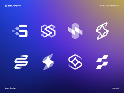 Draft Vector Sketches for Starport defi letter s fintech software code gradient app icon vector altcoin cryptocurrency currency ethereum crypto blockchain cosmos connection star branding logo