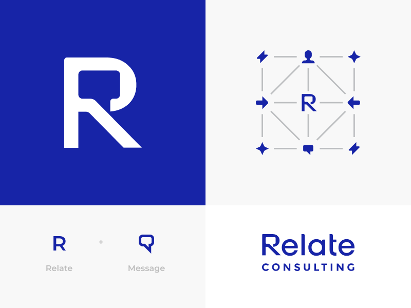 Relate Consulting Logo Concept connection message communication symbol lettering icons concept consulting marketing branding identity logo branding