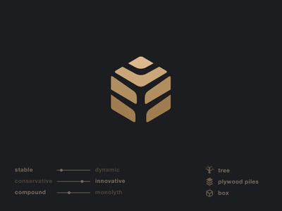 Logo for a plywood wholeseller material gold collection logotype icon wood hexagon box tree identity branding logo