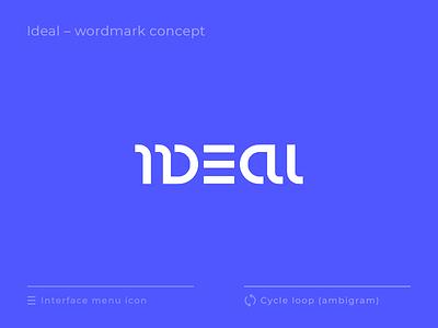 Ideal wordmark concept type 360 degree ambigram icon hamburger menu ui logotype lettering identity branding logo