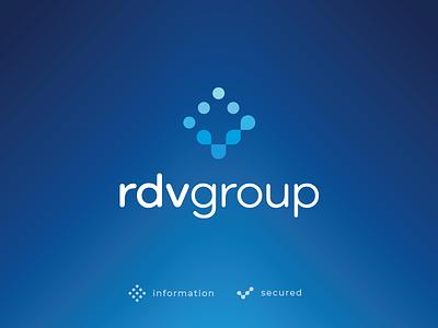RDV Group final logo technology it security check information dots gradient system identity branding mark sign logo