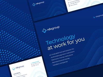 Branding identity concept for RDV Group hosting information security security design system infrastructure it logo waves style guide brandbook business card it technology typography color palette particles dots pattern identity branding logo