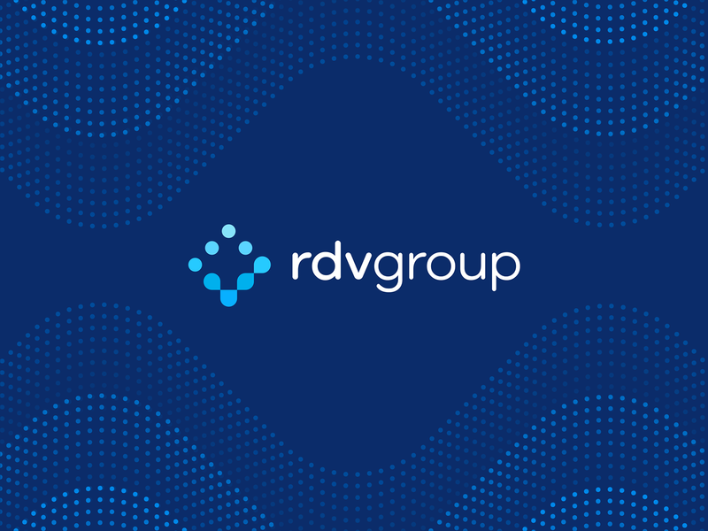 RDV Group final logo and pattern crypto logo blockchain logo it logo atom molecule dots style guide brandbook data fintech innovation pattern branding identity designer consulting it security check information mark sign logo