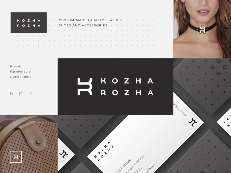 Kozha Rozha branding identity style guide brandbook bag designer creative logo sign typography pattern branding identity guideline logobook leather accessories shoes fashion business card strategy monogram minimal
