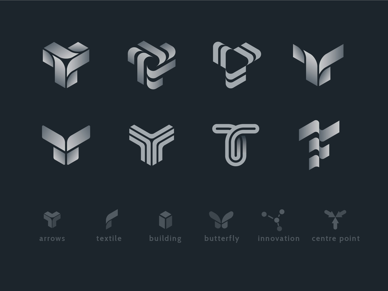 T logo sign exploration sketches 3d logo wings fabric monochrome gradient geometric exploration sketches brandbook branding identity logo arrows arrow crossroad innovation building butterfly monogram letter t trading center textile