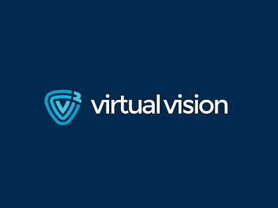 Virtual Vision logo lines ripples data information cloud vr virtual triangle shield logo waves shield security hosting technology v logo letter v custom typography word mark logo it