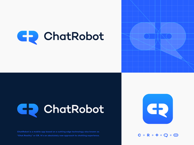 C+R Logo Explorations message robot logo unused logo monogram negative space logo construction logo grid app icon mobile app messenger robotics cross plus chat bubble chat r logo c logo identity branding logo