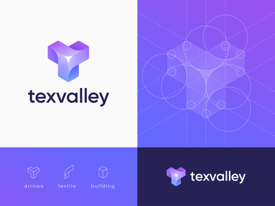 Texvalley Branding Concept mark shopping letter t molecule geometric triangle spinner waves 3d logo isometry flower cube blockchain gradient building textile arrows logo construction branding logo