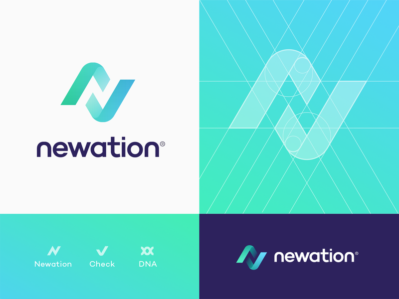 Newation Logo Concept for sale logo app icon letter n check mark diagram calendar negative space arrow bolt flowchart spiral dna branding identity 3d logo gradient sport blockchain geometry unused