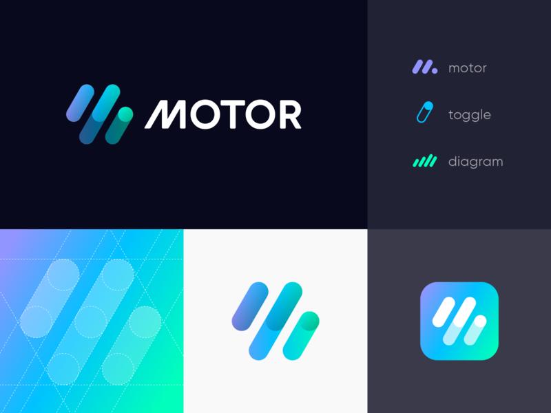 M Logo Concept letter m online service branding chart button molecule grid isometric 3d hexagon gradient sport car app icon car diagram toggle identity unused stripes geometric