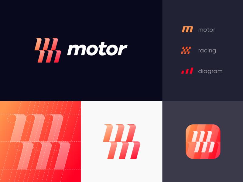 M+M Unused Logo Concept dealer auto fire flame typography bar chart flowchart unused gradient glitch car diagram racing stripes flag identity branding logo app icon 3d