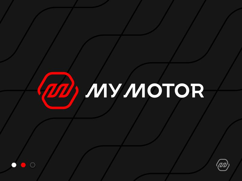 My Motor App Logo branding identity marketplace flat pattern sell buy flame fire wave line hexagon auto gear shift motor car diagram letter m logo icon