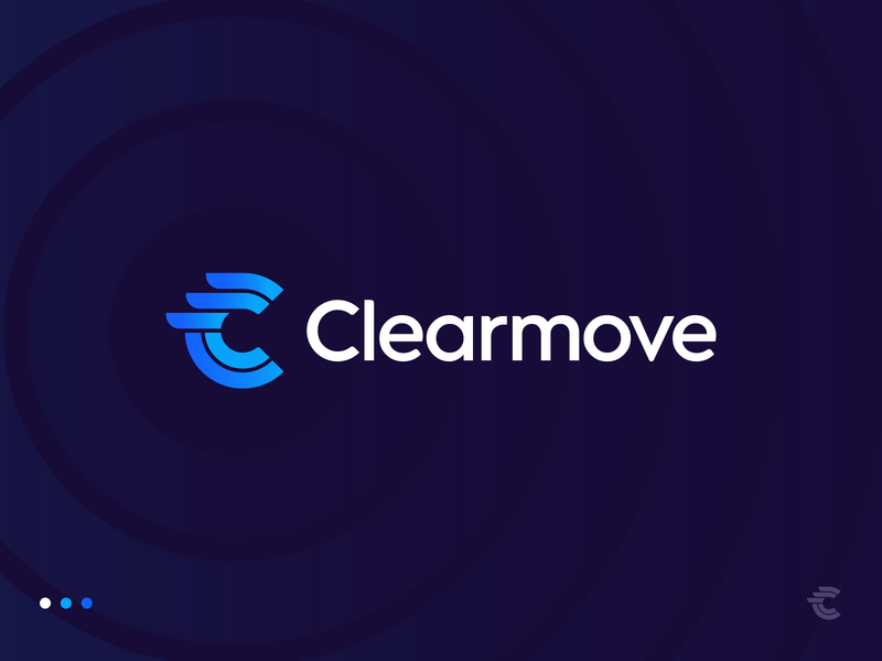 Clearmove Final Logo custom typography business gradient hr human user letter c logo branding identity negative space relocation diagram wing piechart b2b sign mark stripes circle dynamic