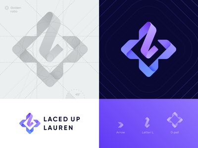 Laced Up Lauren Grid grid streamer ribbon logo letter l laces keyboard joystick icon gradient gaming esports d-pad cybersport custom typography cross broadcaster branding identity arrows 3d