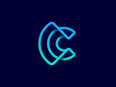 C+WiFi Logo radar 3d wire branding identity signal connection outline gradient human icon letter c waves user logo negative space diagram sign stripes wifi