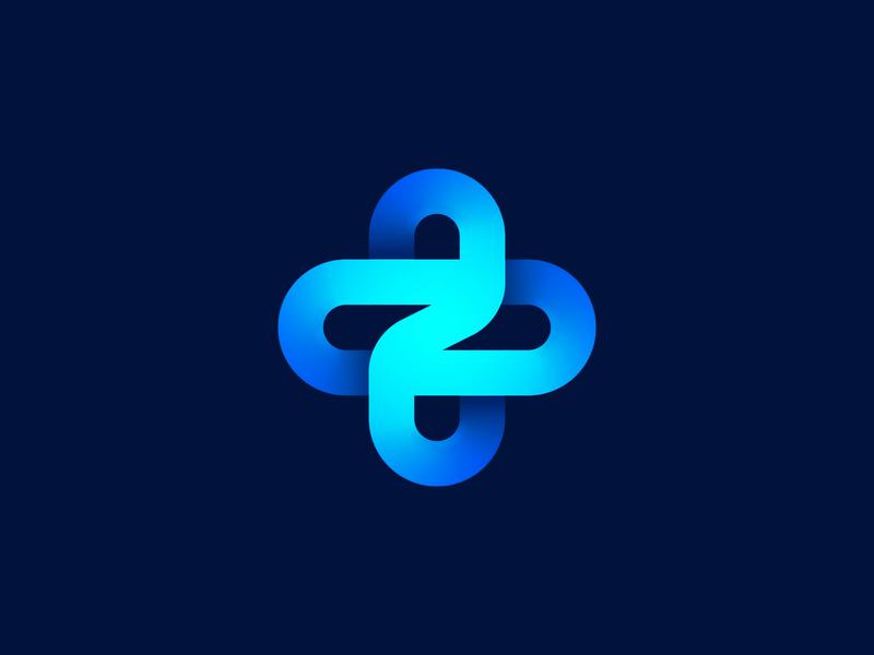 Z + Cross unused logo concept 3d branding identity cross lettering z plus fan orbit medical health care doctor planet sphere future logo gradient rotation flower turbine