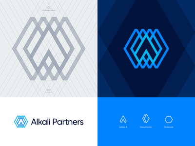 Alkali Partners approved logo grid banking investment construction golden ratio grid transparent neon overlap paper consulting document chrystal molecule hexagon arrow sale broker business branding identity logo