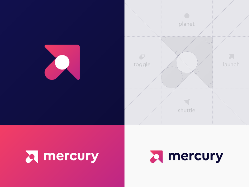 Mercury Logo Proposal logo space planet toggle mobile development code arrow icon app gradient shuttle grid satellite asteroid cosmic sun galaxy launch cursor