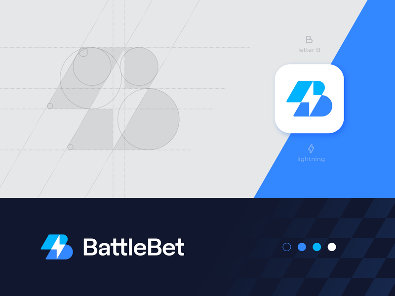 BattleBet branding identity sign lettering mark transparent custom typography play sports esports cybersport betting gaming battle letter b bolt overlap lightning spark identity branding logo