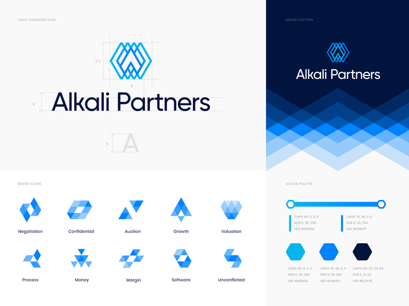 Alkali Partners branding identity icons sale transparent paper neon polygon logo investment hexagon grid pattern golden ratio consulting construction chrystal business broker branding identity banking arrow
