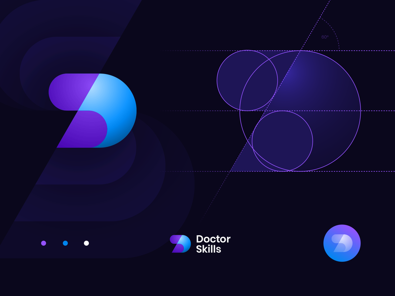Doctor Skills logo and branding concept beat personal avatar lettering sphere identity palette color gradient pattern branding logo grid lightning spark bolt electronic wave music dj
