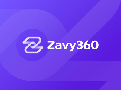 Approved logo design for Zavy360 medical whirlpool rotation hands 360 logo pattern patient gradient app doctor care health orbit custom typography z lettering path branding identity 3d