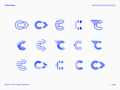 C letter logo draft vector explorations letter c piechart gradient stripes move arrow fly wing user human hr diagram relocation business b2b sketches identity branding logo